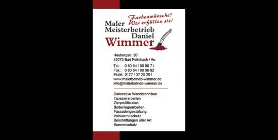 Visitenkarte Malerbetrieb Wimmer