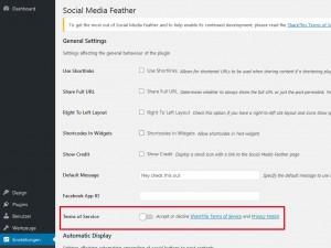 WordPress-Einstellungen für SM-Buttons